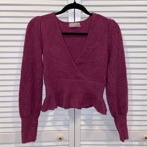 UO knit sweater v neck peplum ruffle sm